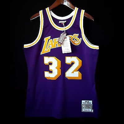 sports shoes faab8 d799e 100% AUTHENTIC MAGIC Johnson Mitchell & Ness NBA Lakers Jersey Mens Size 48  XL