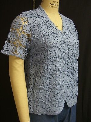 Ladies Hand Crochet Short Sleeve Lined Button Front Sweater, 4746