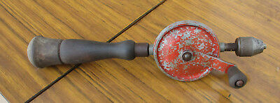Old Vintage Hand Drill, Wooden Handles, In Hgood Working Order.  Old Tools