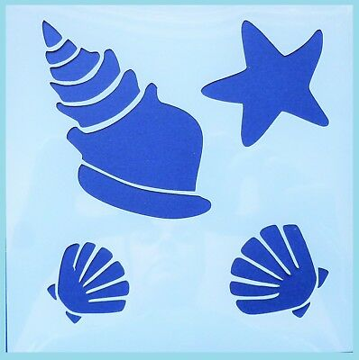 Flexible Stencil SEASHELLS Beach Shell Holiday Ocean Card Making 10cm x 10cm