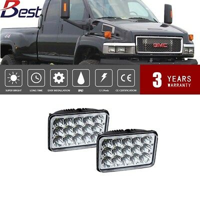 "2pcs 4x6""LED Headlight Headlamp Hi/Lo Sealed Beam GMC Dodge Chrysler Ford Chevy"