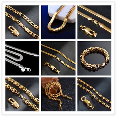 Unisex 18k Gold Filled Silver Necklace Bracelet Chain 8'-20'Long Jewelry