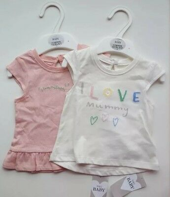 marks and Spencer baby t-shirt 0-3months I love my daddy and I Love my mummy
