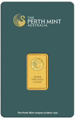 Perth Mint Kangaroo 5g .9999 Gold Minted Bullion Bar - Green Cert Card - 5 Grams