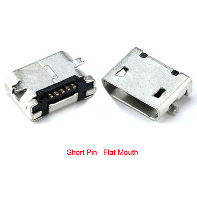 Micro USB Type B Female 5 pin SMT SMD Socket Connector , Short Pin Flat Mouth