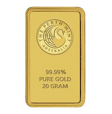 Perth Mint Kangaroo 20g .9999 Gold Minted Bullion Bar - Green Card - 20 Grams