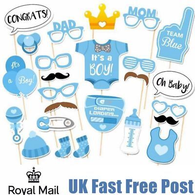 25pcs Baby Shower Photo Booth Props Boy New Born Party Decoration Blue UK Stock