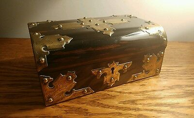 SUPERB VICTORIAN JEWELLERY BOX, COROMANDEL WITH GOTHIC STYLE BRASS MOUNTS c1875