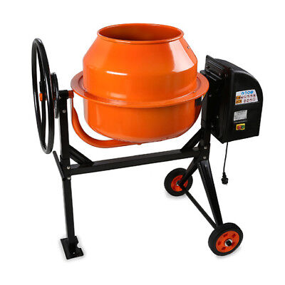 EBERTH 140L Electric Concrete Mixer Cement Plaster Mortar Machine Stand Wheels