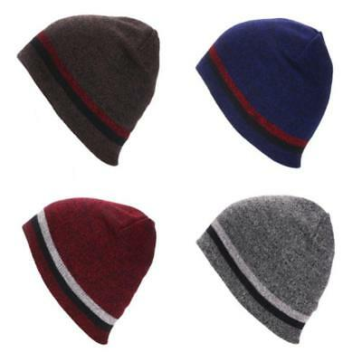 Mens Women Chunky Striped Ski Hat Unisex Knitted Hat Outdoor Warm Beanie Cap