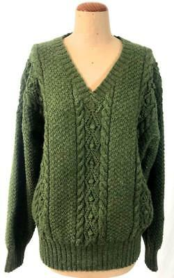 VINTAGE Mens UNISEX chunky deep GREEN woollen wool CABLE v neck JUMPER L XL 2x