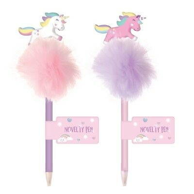 Novelty Fluffy Jumping Unicorn Feather Pen Lilac Pink Colour Girls School Gift