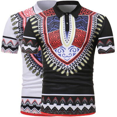 Homme Africain Style Chemise à Manches courtes Casual Slim Sport T-Shirt Tee Top