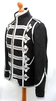 HAND MADE Mans Mens REAL LEATHER COAT JACKET MILITARY TUNIC ROCK GOTH STEAMPUNK
