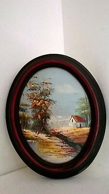 Small Oval Shape Original Landscape Oil Painting on Board