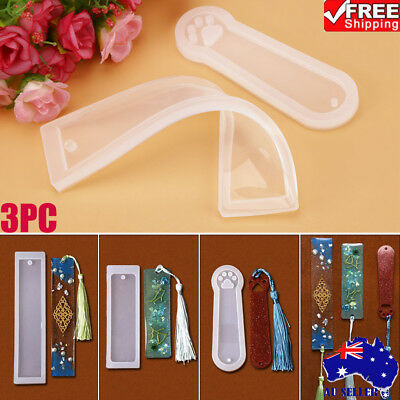 3PC DIY Rectangle&Cat Claw Silicone Mould Epoxy Resin Jewelry Bookmark Craft AU