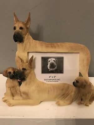 """Great Dane Picture Photo Frame 4"""" x 6""""  3D E&S Import Dog Pet Self Standing"""