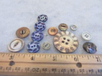 Vintage  Lot Of Mop Buttons (Carved, Colored)
