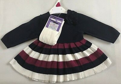Ex Nutmeg Baby Girl Navy Purple Knit Dress & Tights Outfit Newborn New Baby 0/3