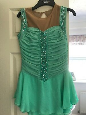 Competition Dress Ice Skating And Dance Mint Green Adult Small 6 8 Age 14 15