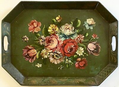 """Antique Large 22"""" Hand Painted Floral Flower Oil Painting Tin Tea Tray Toleware"""