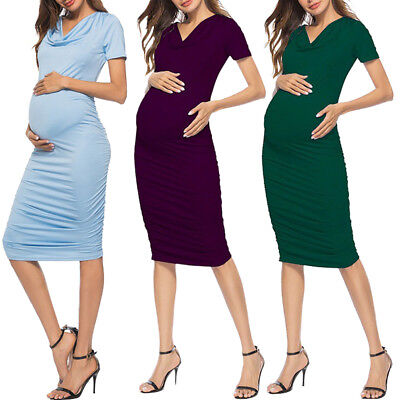 Women Ruched Bodycon Maternity Dress Cowl Neck Pregnant Dresses for Baby Shower