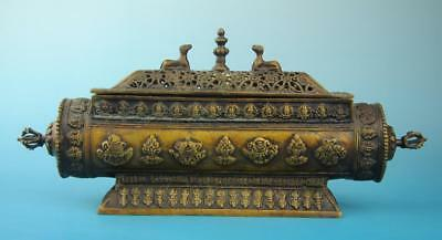 Antique china hand made copper eight treasures incense burner old collect f02