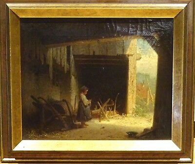 Fine 19th Century English French Farm Girl Barn Scene Antique Oil Painting