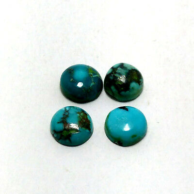 AAA Quality Natural TURQUOISE Round 7 MM 4.8ct 4 Pc Cabochon Loose Gemstone