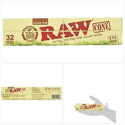 RAW Organic Unrefined Pre-Rolled Cone 32 Pack (1 1/4 Size)