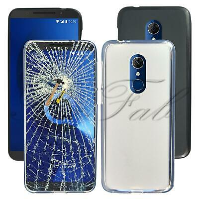 For Alcatel 3 5052 New Genuine Black Clear Gel Phone Case Cover + Tempered Glass
