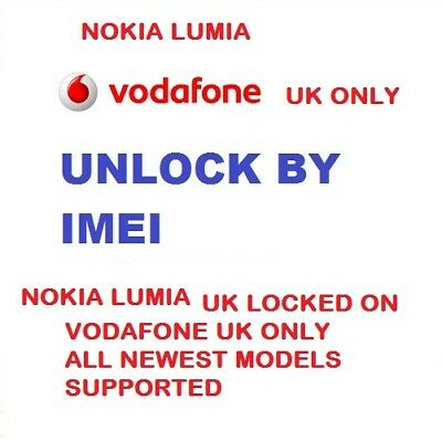 Nokia Lumia 515 520 525 535 550 625 635 640 735 925 Vodafone UK Unlock Code Fast