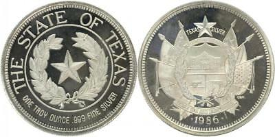 1 Unze Silber 1986 - The State of Texas - Silber - Stgl.