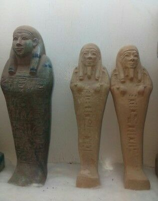 Replica Rare Antique Ancient Egyptian 3 ushabti with hieroglyphics BC