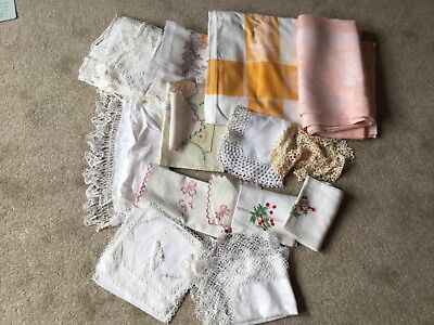 job Lot of Vtg / antique linens , table cloths, hand towels, doily, tray cloth