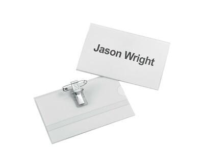 5 Star Office Name Badge Landscape with Combi-Clip 54x90mm (Pack of 25)