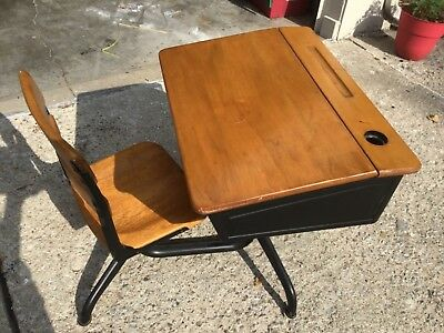 antique flip top school desk