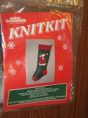 "Brunswick Knitting Yarn 22"" STOCKING Kits Christmas  Santa Clause Vtg"