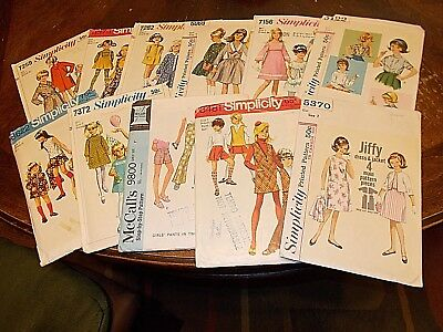 lot of 11 vintage sewing patterns girls size 7 from the 60s