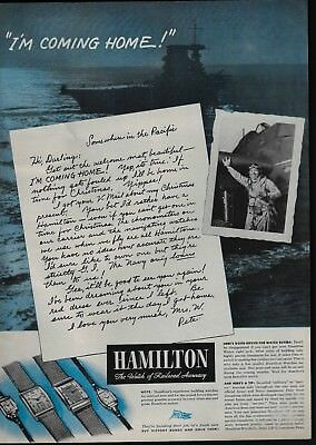 1945 Navy Pilot Somewhere in Pacific I'm Coming Home Hamilton Watch Print Ad