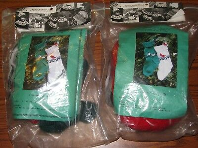2  Ginger Orginals Knitting Yarn STOCKING Kits Christmas  Song Bird Vtg