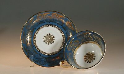 Royal Grafton Blue with Gold Filigree Tea Cup and Saucer, England