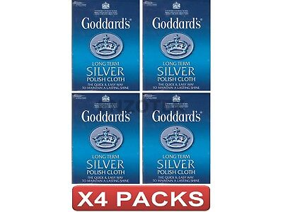 Goddards Long Term Silver Polish Cloth All Cotton Maintains Lasting Shine 4 Pack
