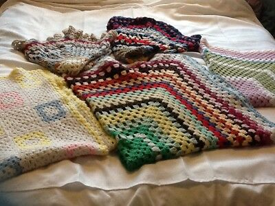 Joblot THREE HAND MADE CROCHET BLANKET/THROWs Plus Two Out Of Shape For Free