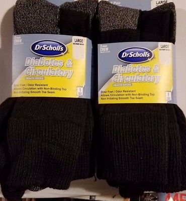 4 PAIRS OF Dr. Scholl's Diabetic & Circulatory Crew Socks Men/Women Large  NEW