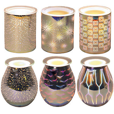 3D Electric Wax Melt Warmers - 6 Designs, Candle Tart Melter, Silver Burners, UK
