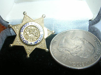 """IMPERIAL County Deputy Sheriff  ALL Gold Star 1"""" Mini Badge PIN Tie Tac"""