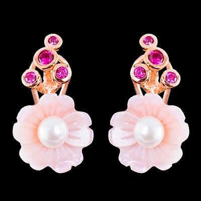100% Natural Freshwater Pearl Red Spinel Cz Mop Rose Gold Silver 925 Earring