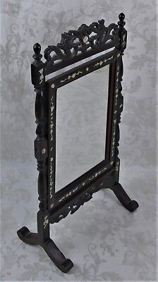 Antique Chinese Rosewood Vanity Mirror W/ Mother of Pearl Inlay Dragon Carving