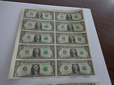 10 UNCUT SHEET $ 1 ($1 X 10) Legal USA 1 DOLLAR*Real Currency NOTES*RARE BILLS